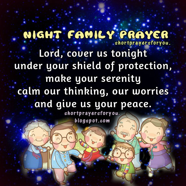 Free christian family prayer for a good night, thank you Lord for my family, take care, family image with prayer to say with children.