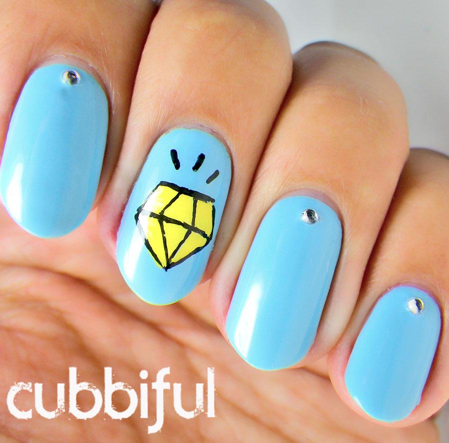 cubbiful: A2Z - J is for Jewel: Cartoon Diamond Nails