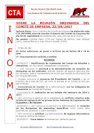 SOBRE LA REUNIÓN ORDINARIA DEL COMITÉ DE EMPRESA, 22/09/2017
