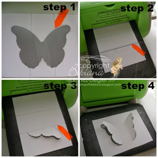 steps on how to partial die cutting black butterfly