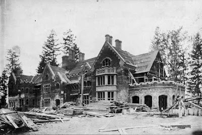 Thornewood Castle under construction in 1910.  It would later be feature in the Stephen King film Rose Red. In real life, the ghost of the former owner of the stately mansion is said to walk the grounds to this day.
