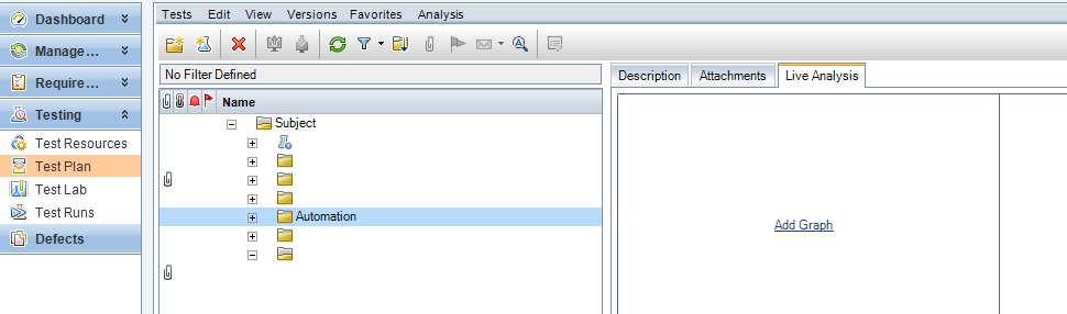 Opening Live Analysis view in ALM