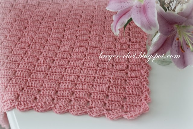 Free Crochet Pattern Lacy Baby Blanket : Lacy Crochet: Easy Blocks Baby Blanket, my free pattern