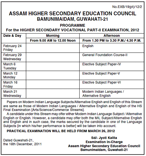 Assam Higher Secondary (H.S.) Programme 2012