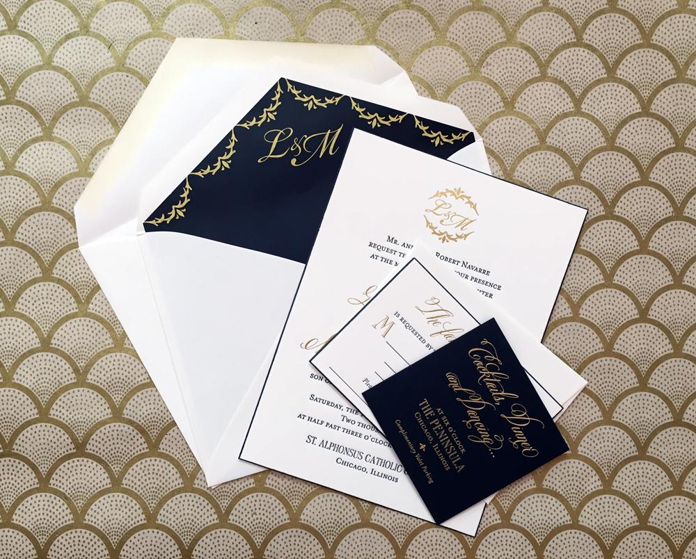 Elegant Gold Foil Wedding Invitation