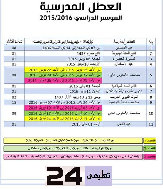 لائحة العطل المدرسية 2015-2016