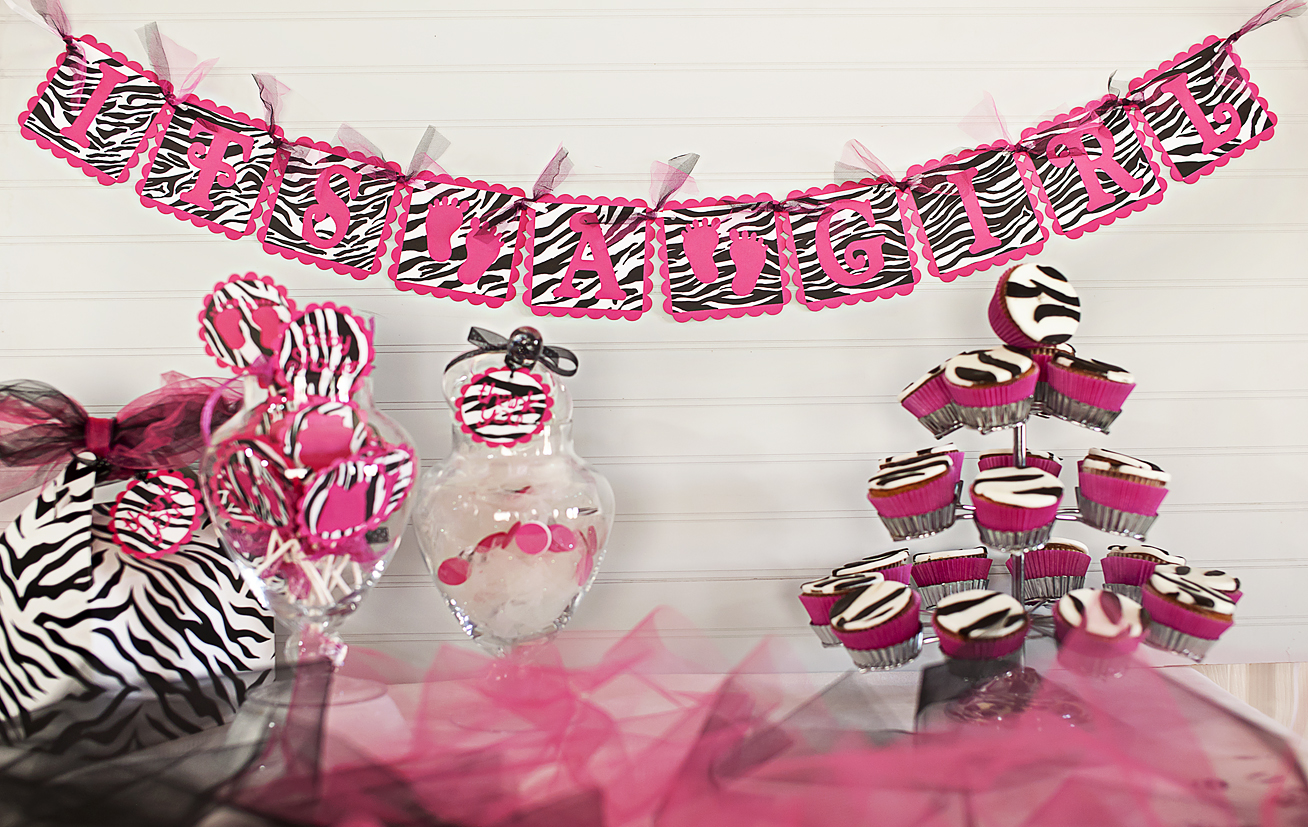 justbeccuz hot pink zebra baby shower