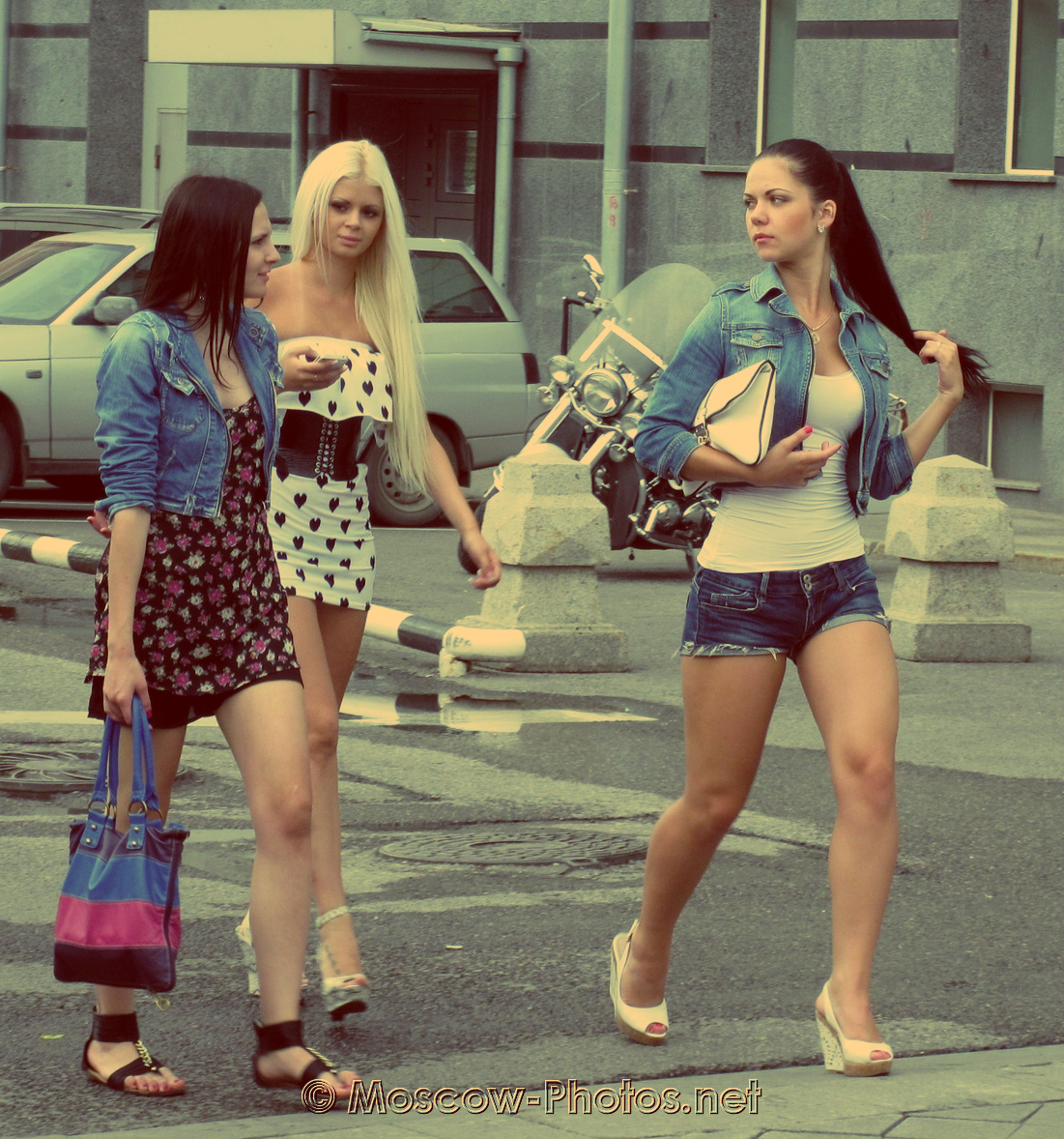 Girls walking in summer