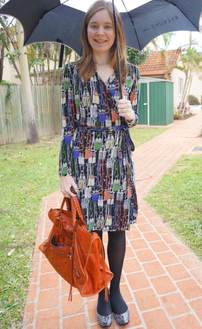 Work outfit Leona Edmiston Paris tassel print wrap dress balenciaga rouille work