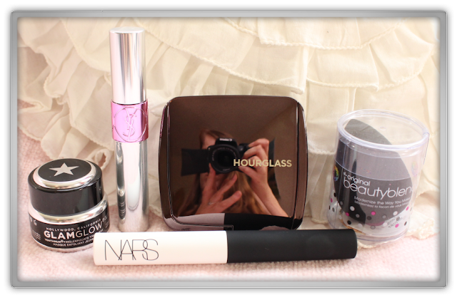 My Epic Prize from Christina Hello's Giveaway YSL tint nars eyeshadow base Hourglass ambient powderbeauty blender glam glow mask