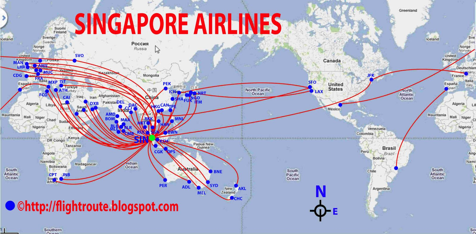Singapore Airlines Routes Map | Design Plane