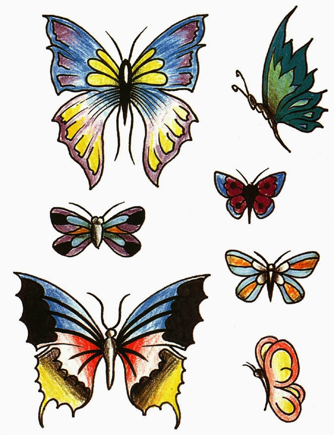 Colorful Butterflies Tattoo's Design