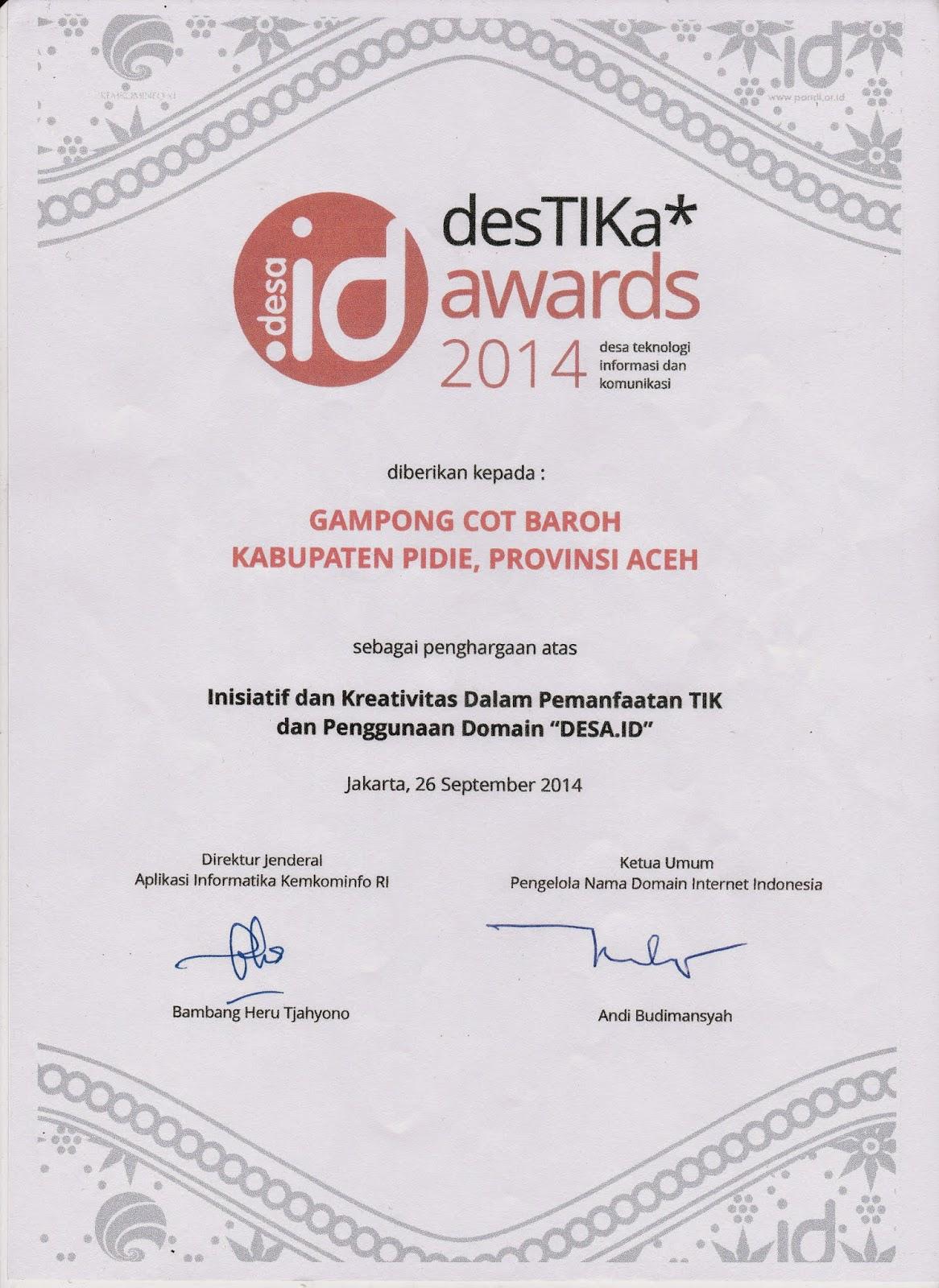 Gampong Cot Baroh Mendapatkan Destika Awards 2014