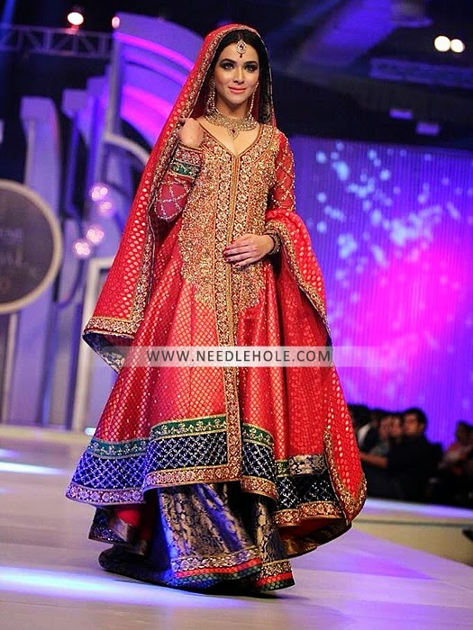 Long Banarsi Jamawar Bridal Shirt With Two Legged Flared Sharara And Embellished 4 Border Sides Dupatta