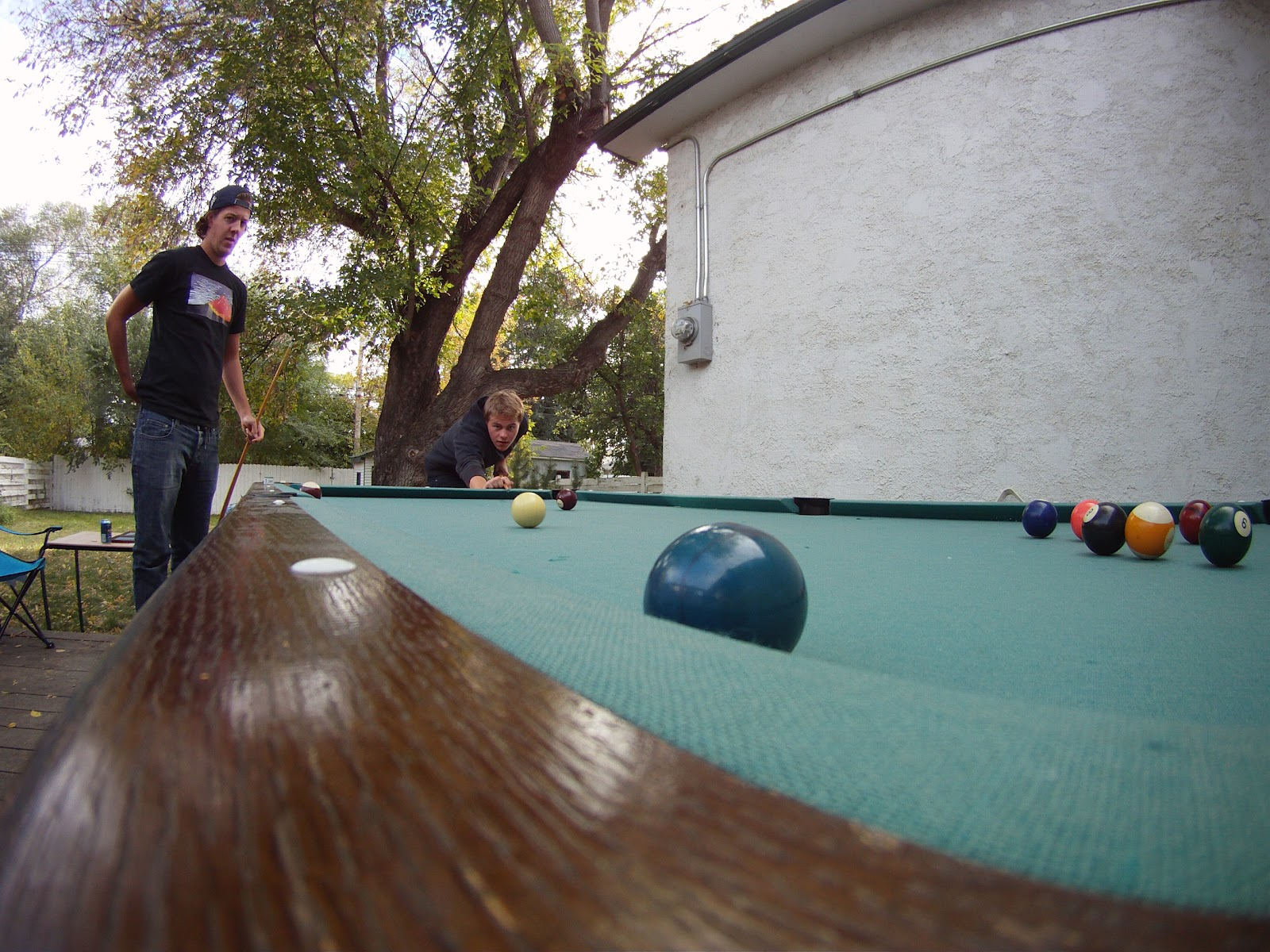 the grizzly den backyard pool table
