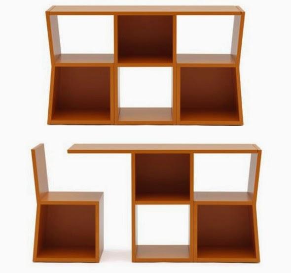 diseño de escritorio con librero y silla