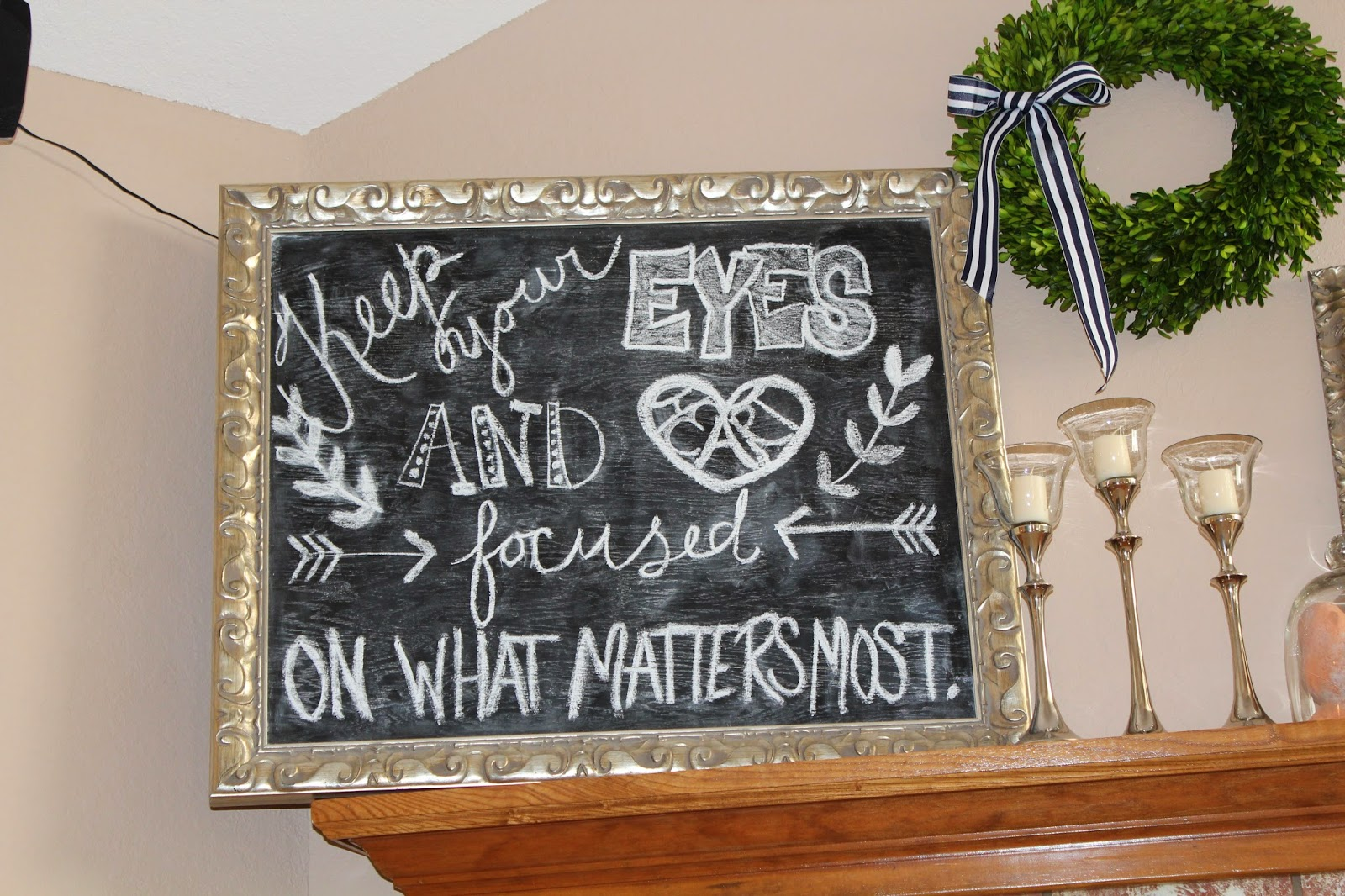 this chalkboard was made for our wedding i picked up a frame from hobby lobby and rikis husband cut a piece of plywood to fit the frame and he even