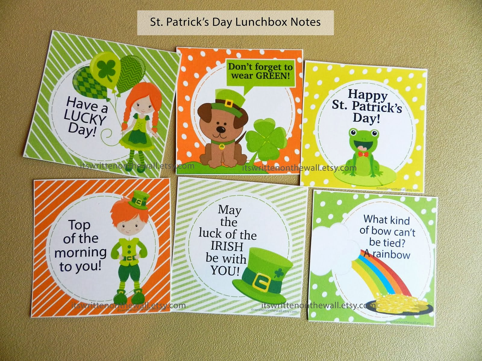 St-Patrick's Day Lunchbox Notes + Everyday Notes