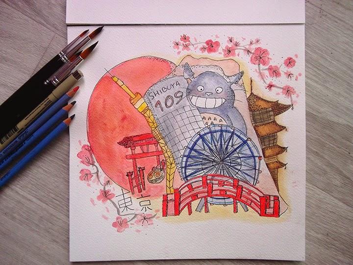 draw on monday 8, là où je me téléporterai, tokyo, dessin, blog, totoro, ghibli, sakura, fleurs de cerisier, france, fuji, japon, pays du soleil levant, le tori flottant, horyu ji, ramen, aquarelle, water colors