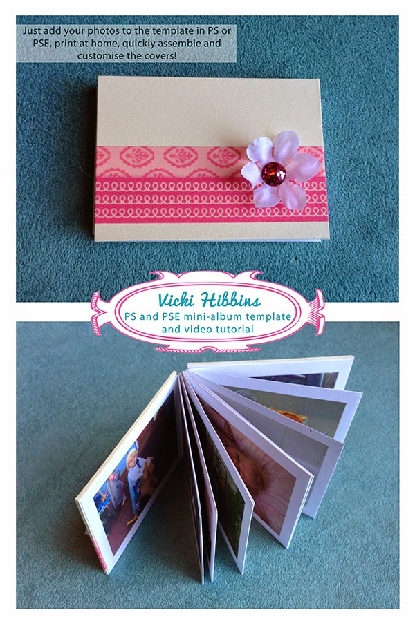 Photoshop and Elements mini-album template and video tutorial by Vicki Hibbins