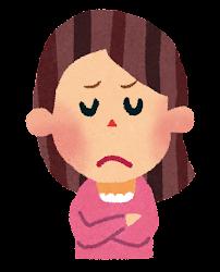 女性のイラスト「悩んだ顔」