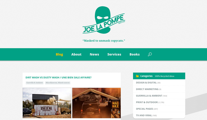 Joe La Pompe, Desenmascarando el Plagio Publicitario