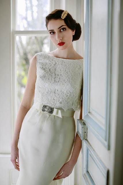 'STELLA' 1960s vintage wedding dress design - chic and figure-flattering column style