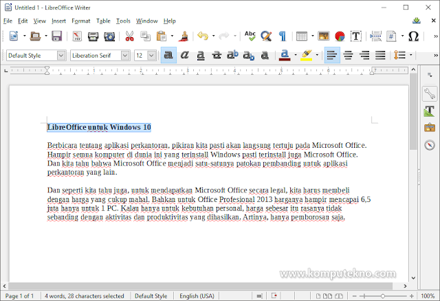 LibreOffice Writer pada Windows 10