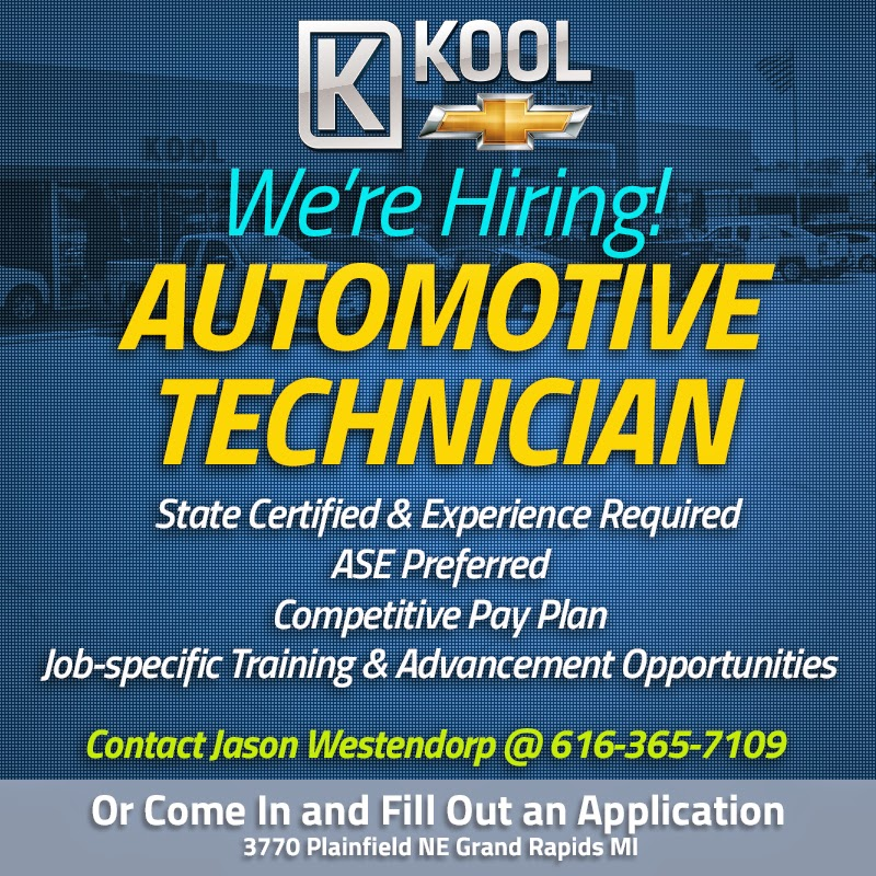 Automotive Technician Position Open at Kool Chevrolet in Grand Rapids, MI