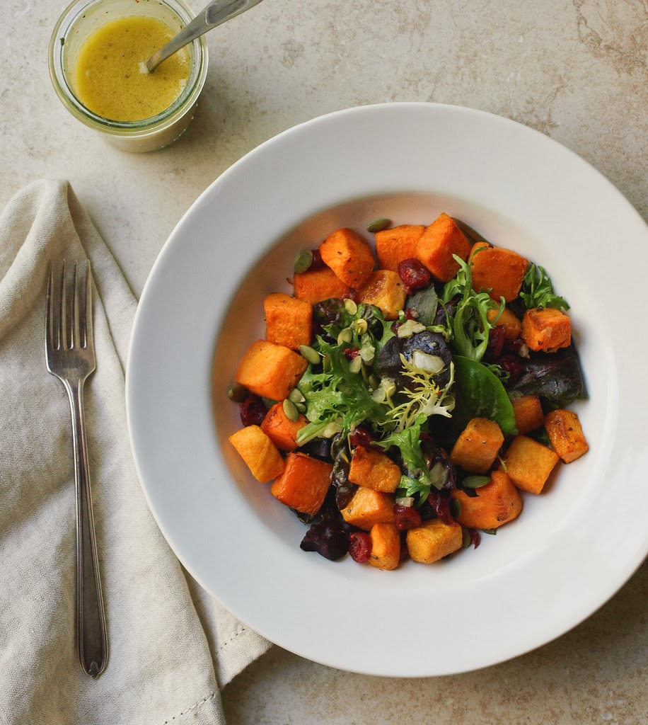 Roasted Butternut Squash Salad + Shallot Vinaigrette