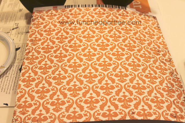 Scrapbook paper on a table, from Fun Cheap or Free