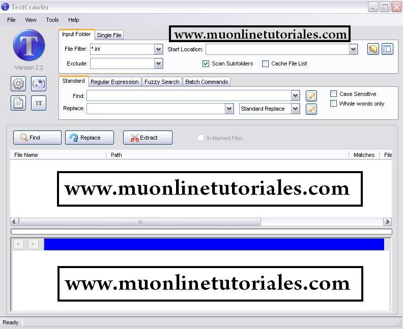 Interfaz del programa TextCrawler
