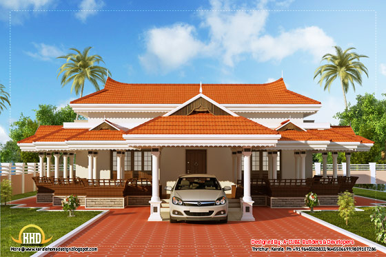 View 3 of Kerala model house design - 2292 Sq. Ft. (213 Sq. M.) (255 Square Yards) - March 2012