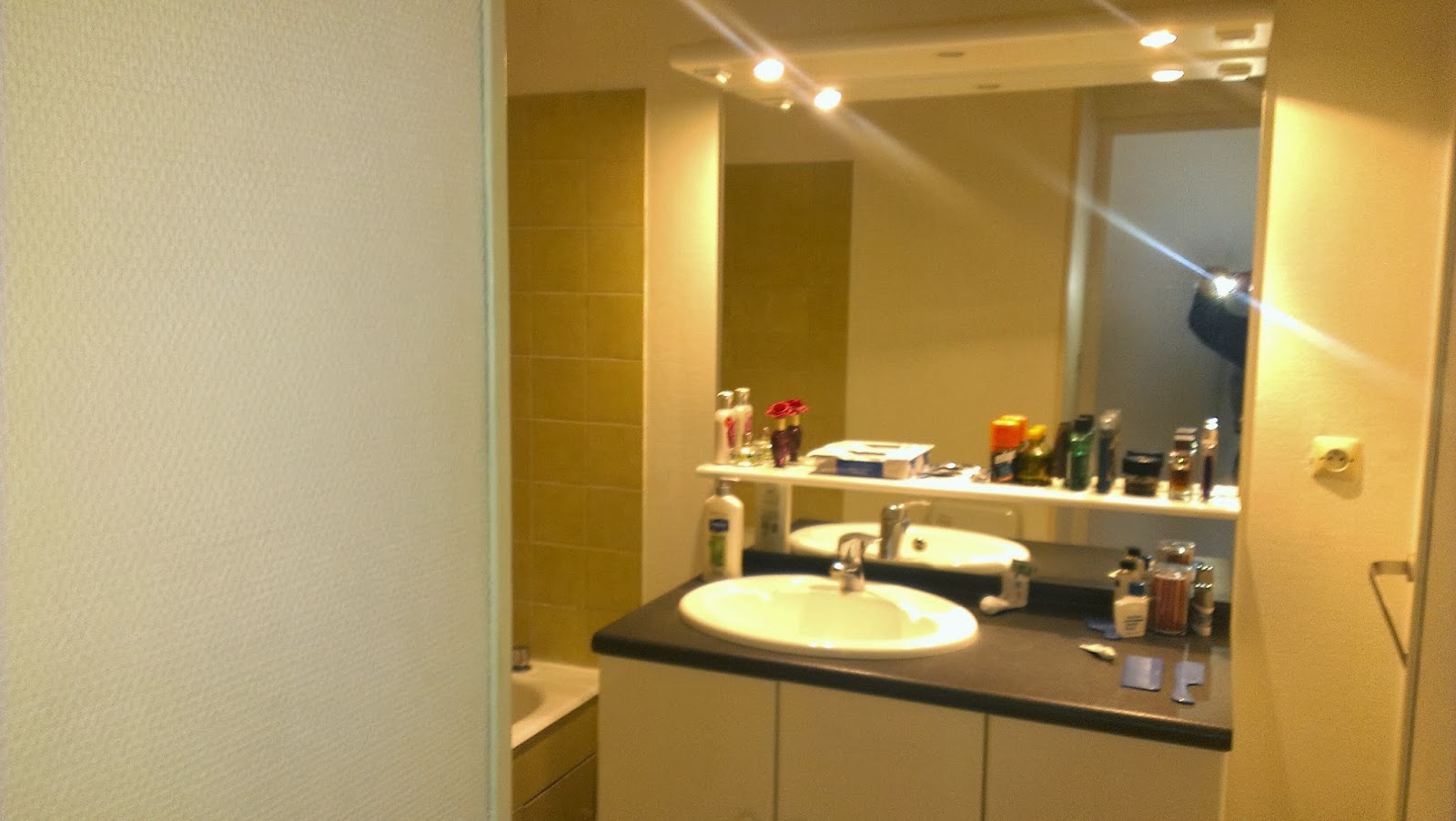 awkward shaped bathroom pay no attention to the person in the mirror