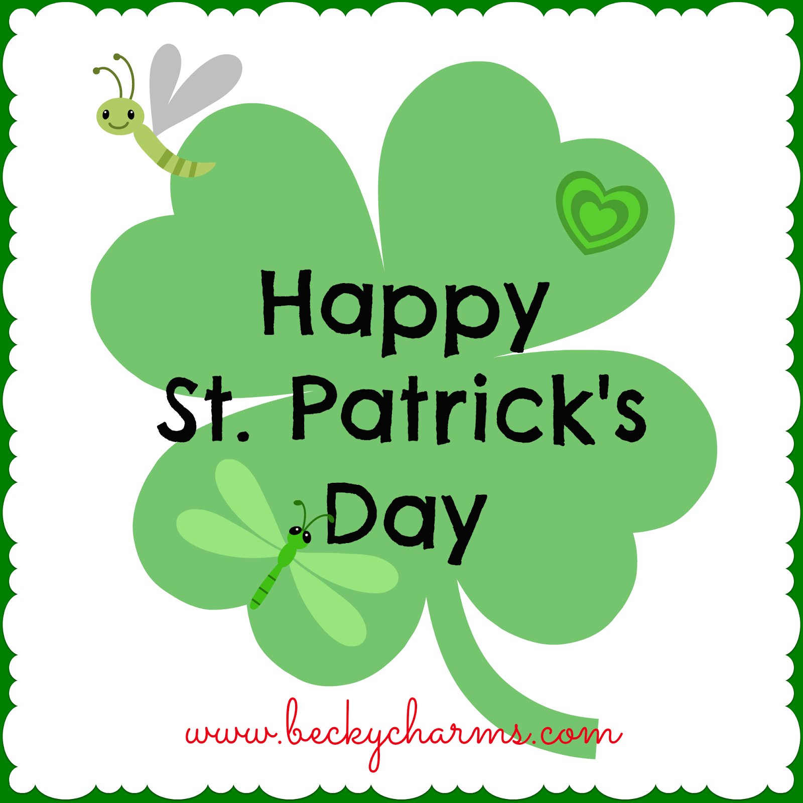 green shamrock with text wishing you a Happy St. Patrick's Day with digital cute bugs by BeckyCharms