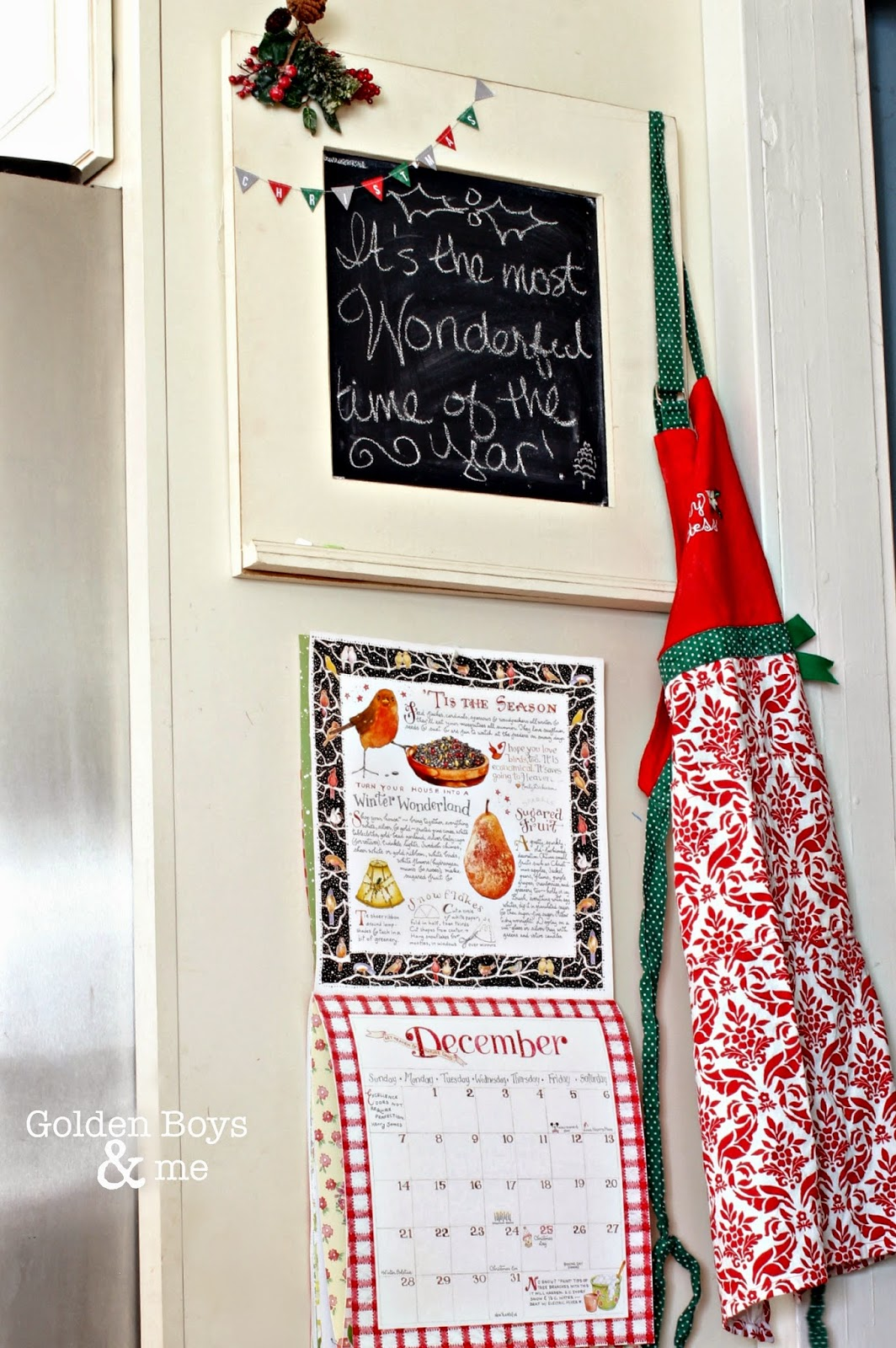 Susan Branch calendar, apron and chalkboard in Christmas kitchen-www.goldenboysandme.c