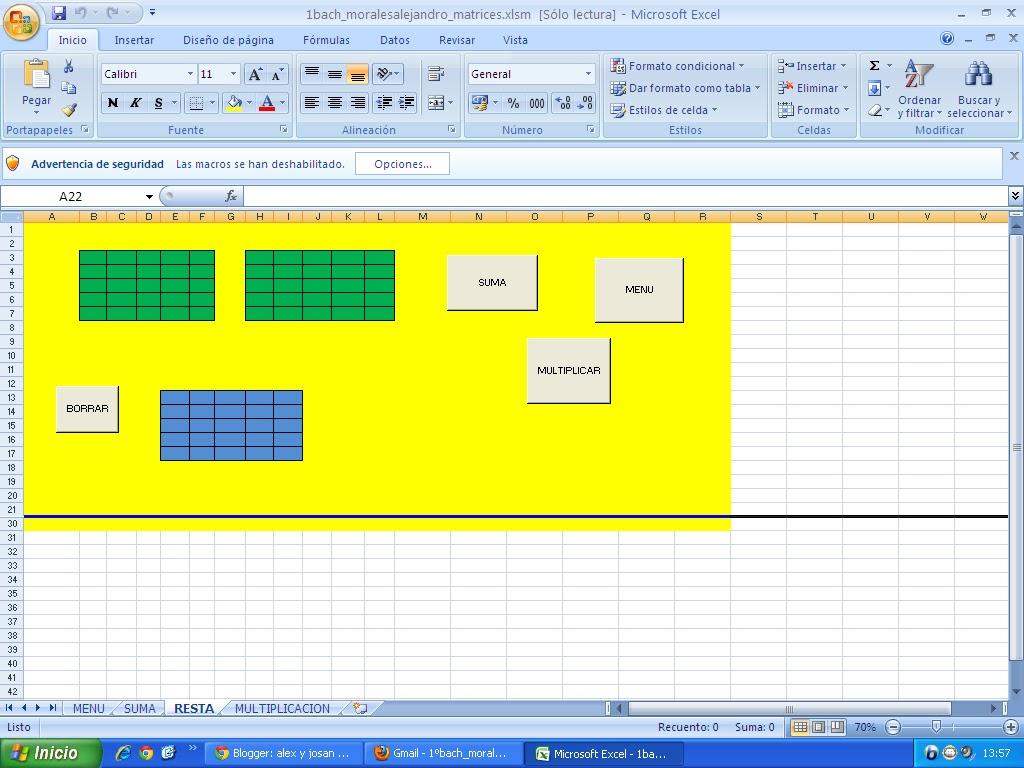 alex y josan: Trabajo de excel de las matrices