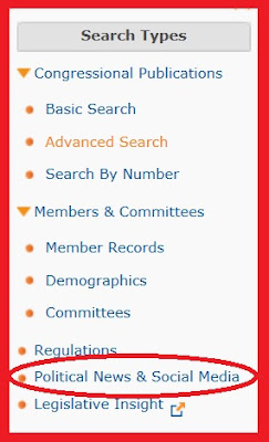 screen snip of ProQuest Congressional Search Types menu