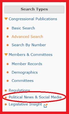 screen snip of ProQuest Congressional Search Types menu