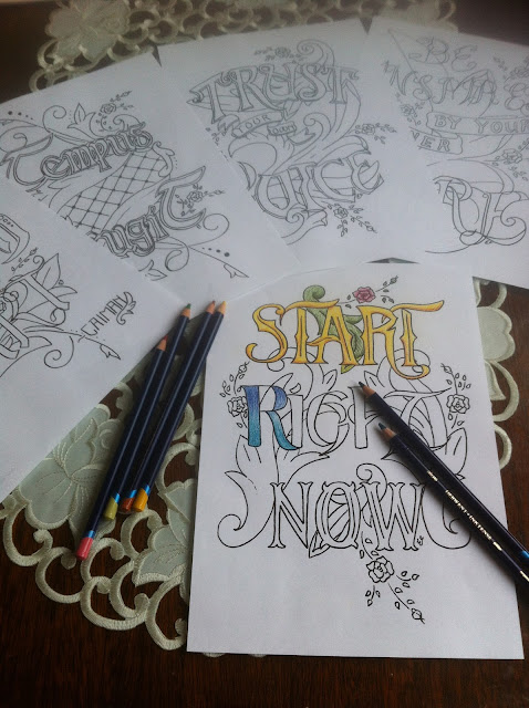 colouring, lettering, typography, inspirational quotes