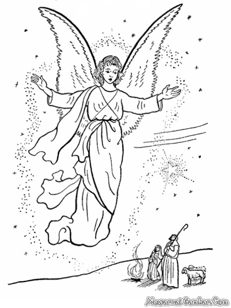 Lembar Mewarnai Malaikat Terbang Dimalam Natal