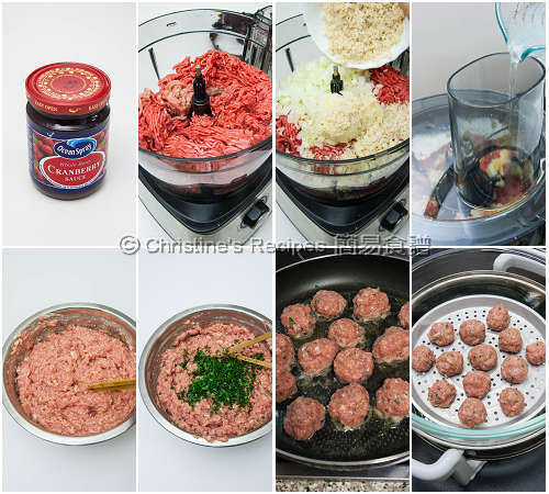 肉丸配蔓越莓醬製作圖 Meatballs with Cranberry Sauce Procedures