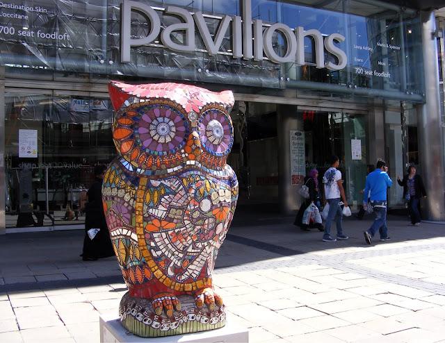 Orange owl statue