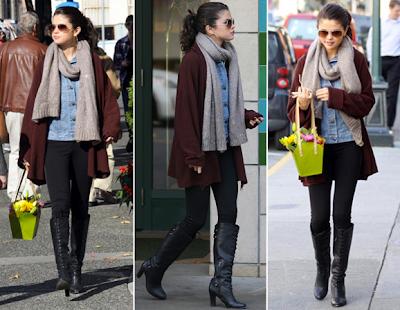 Selena Gomez winter get the look celebrity leggings luv u always LUA Half and Half