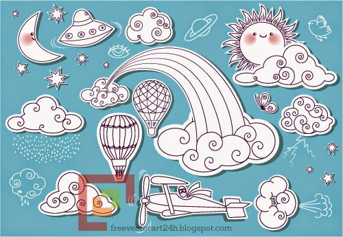 So cute doodle of sky elements vector graphics