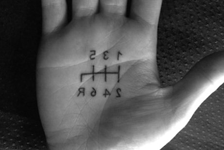 Inverted Shift Knob Pattern Tattoo, On The Palm Of The Hand