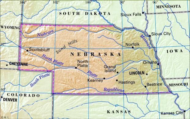 Online Maps Nebraska Map With Cities - Nebraska physical map