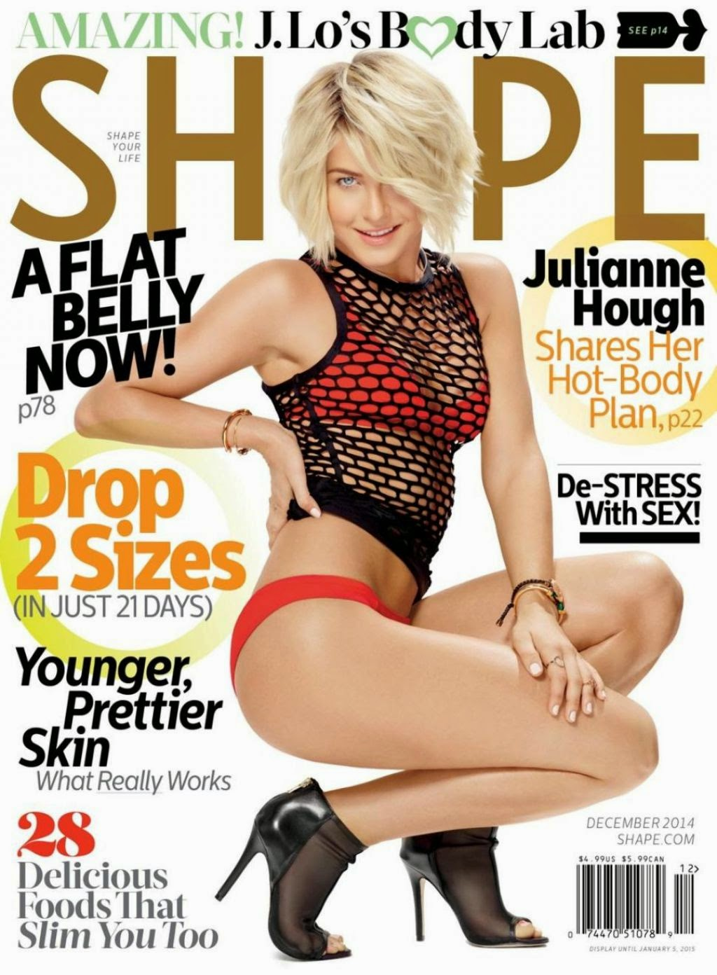 Julianne Hough covers Shape Magazine December 2014 in a red bikini
