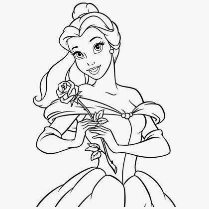 Coloriage princesse belle dans sa robe de bal coloriage - Dessin de robe de princesse ...
