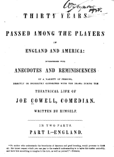 'Thirty Years Passed Among the Players in England and America' by Joe Cowell (1844)